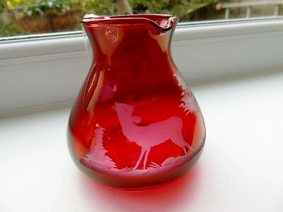 Antique Bohemian Cranberry Glass Jug - Wheel Cut Stag Decoration .25 ltr