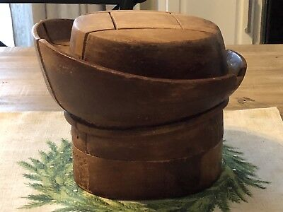 Vintage Antique Millinery Wood Puzzle Block Hat Making Form Mold