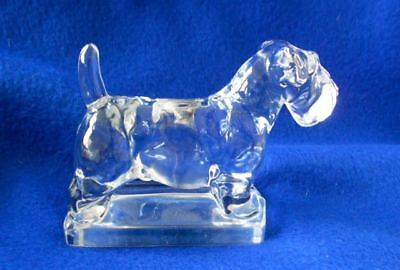 "Vintage SOLID Glass Sealyham Terrier Dog Figurine Paperweight 5"" L"