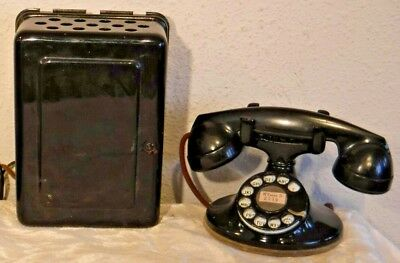 """Western Electric """"Working"""" 202 Rotary Dial Telephone + 634A Metal Ringer Box"""