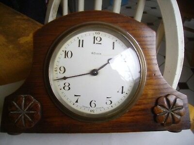 """Lovely French made """"8 days"""" wooden mantel art deco clock/time-piece 1938"""
