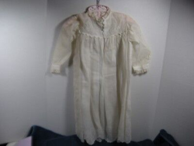 "Victorian Antique Child's Christening dress White Edwardian & slip doll 32"" Lace"