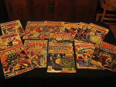 "12 Mixed Lot Vtg Marvel Comics ""super Heros & Mistery"" Years 1970-1979"