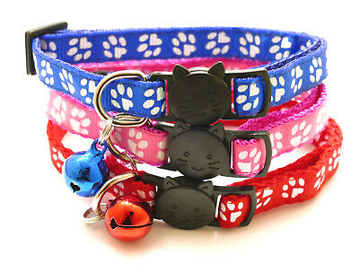 Cat Collar Kitten Paw Print Safety Release Break Free Snap Adjustable with Bell
