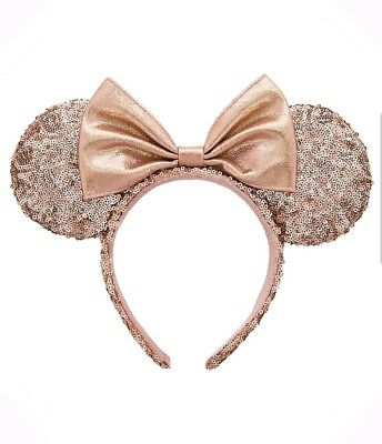 NEW WITH TAGS Disney Parks Rose Gold Minnie Mouse Ears Headband