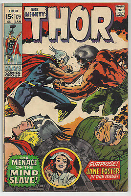 THOR #172: Bronze Age Marvel: Jan 1970: The Immortal and the Mind Slave: VG/FN
