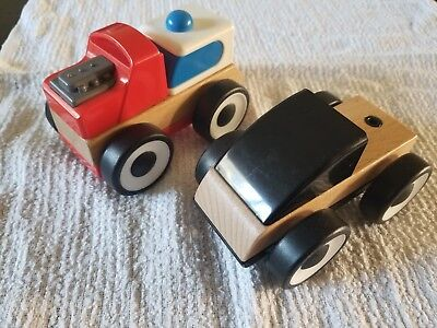 IKEA LILLABO 2 Wooden Toy Cars Vehicles Truck Construction