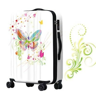 D348 Multicolor Butterfly Universal Wheel Travel Suitcase Luggage 24 Inches W