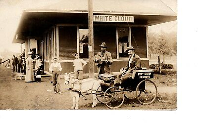 Rppc~White Cloud Train Railroad Depot~Snack Goat Wagon ~Black Negro Guitar 259