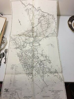Huge Rare Antique 1956 Lake County Florida Map Hwy Transportation Detailed Fine