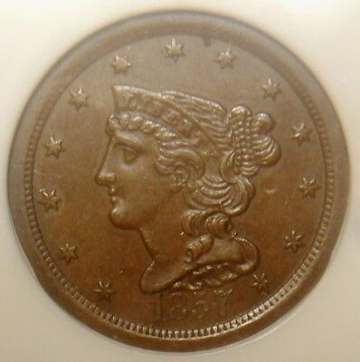 1857 Braided Hair Half Cent, Exceptional Detail And Toning, Ngc Graded Au58Bn