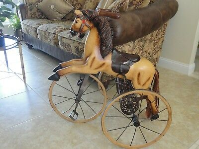 "Large Decorative Antique Vintage Carved Wood Horse Tricycle 31"" High & 30"" Long"