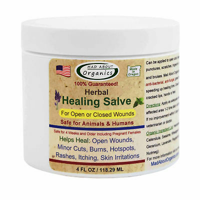 Mad About Organics All Natural Dog Cat Horse Herbal Skin Wound Healing Salve 4oz