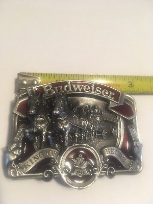 Vintage Belt Buckle Budweiser King Of Beers (Anheuser Busch) Clydesdales Usa