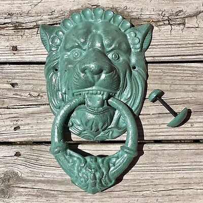Cast Iron Green-Hued Lion Head Heavy Vintage Door Knocker