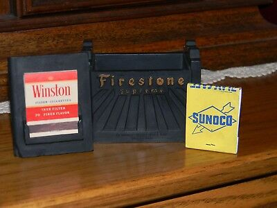 FIRESTONE SUPREME BATTERY Cigarette Box and Match Holder - Hard Rubber