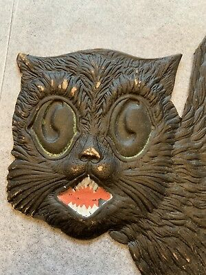 large vintage Halloween German die-cut embossed black cat 1920s
