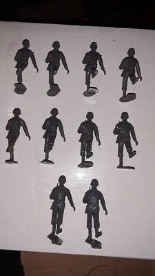 Lot of 10 Dark Grey Marching Soldiers