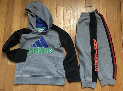 Adidas Youth Boys 5t Hoodie & Joggers Sweat Pants Lot Of 2 Gray