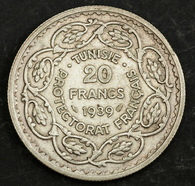 1939, Tunisia (French Protectorate), Ahmad Pasha Bey. Silver 20 Francs Coin. XF!