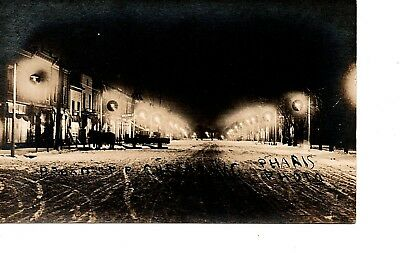 Rppc ~ Night Street Lights ~ Main St Chesaning ~ Horse Sled Snow ~ 1919 Rare 260