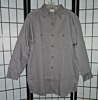 VTG 50s/60s NOS KING KOLE GRAY SANFORIZED ROCKABILLY WORK SHIRT LARGE