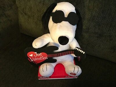 Joe Valentine Peanuts Dancing Musical Guitar Plush Plays Song Valentines Day