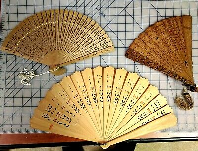 3 Vintage Unique Wooden Fans, Philippines, Oriental?