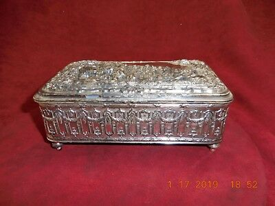 Antique Zimbalist & Co. Jennings Bros Silver Plated Swiss Music Box Repousse