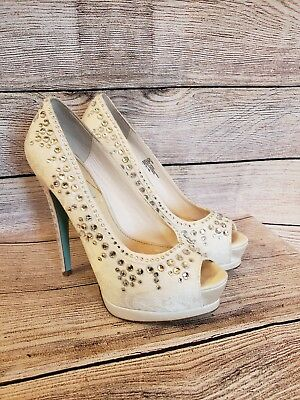 becbd71e6d6c Betsey Johnson vow white satin wedding shoes open toe pumps rhinestones 8.5