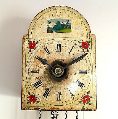 Antique BLACK FOREST German Wall Clock Hand Painted Dial Striking Bell Pendulum