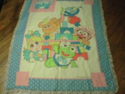 Adorable 1984 Muppet Babies Baby Blanket Beautiful Bright Colors Henson