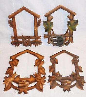 Lot of 4 Vintage Wood Leaves Cuckoo Clock front Trim parts Repair project ..