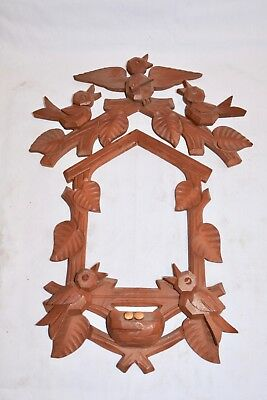 Vintage Wood Birds Leaves Cuckoo Clock front Trim with Matching Topper ..
