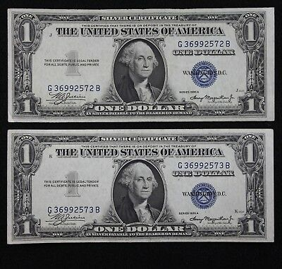 Two Consecutive $1 1935A AU/UNC Silver Certificates G36992572B-73B FREE SHIPPING