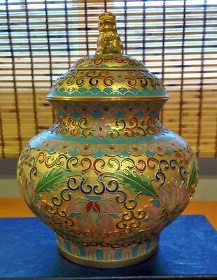 Old Chinese gold cloisonne oriental vase ginger jar with lid Free ship