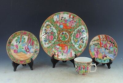 Lot Of 4 Antiqu. 19C Chinese Export Rose Medallion Porcelain Plates & Cup