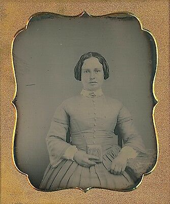Young Lady With Freckles Holding Daguerreotype Case 1/6 Plate Daguerreotype E211