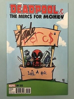 Deadpool and the Mercs For Money 1 Skottie Young Baby Variant Signed By Stan Lee