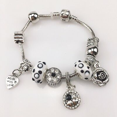 NEW Pandora Bracelet With LOVE HEART European Charms Silver Bangle Free shipping
