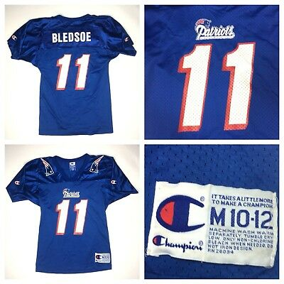 competitive price 88b7f 9815d VINTAGE DREW BLEDSOE Jersey Youth New England Patriots Champion Mens Size  Medium