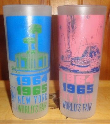 TWO 1964-1965 NY Worlds's Fair ~ Collectible Glasses Cups