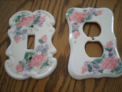 Pair of Ceramic Painted Floral Switchplate/Double Outlet Covers