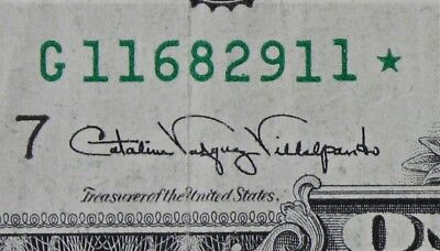 OVER INKED STAR ERROR $1 1988A Federal Reserve Note G11682911* One $, FREE SHIP.