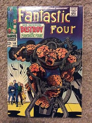 FANTASTIC FOUR #68 By Stan Lee & Jack Kirby 1967 Marvel Comics & The Thing