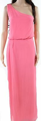 Adrianna Papell NEW Pink Womens Size 12 One Shoulder Embellished Gown $130 341