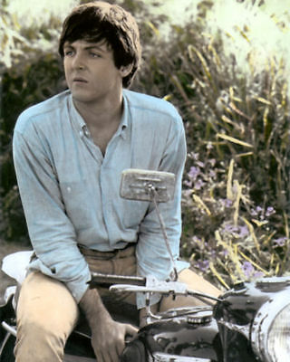 "PAUL McCARTNEY THE BEATLES riding MOTORCYCLE 8x10"" HAND COLOR TINTED PHOTOGRAPH"