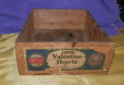 Extremely Rare Necco Valentine Hearts Wooden Dovetail Advertising Box-Amazing!