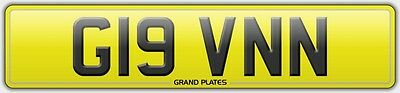 Number plate G19 VNN registration GAVIN UK REG GAVINS NO FEES GIVEN UK GAVS REG