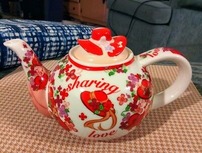 Red Hat Society Cardew 2004 Pink Chintz Tea Pot Porcelain EUC